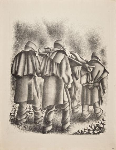 F. Dosamantes, Soldados llevando a un herido, s/f, litografía.