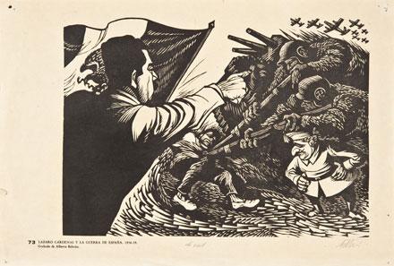 A. Beltrán, Lázaro Cárdenas y la guerra de España, c. 1937, linografía