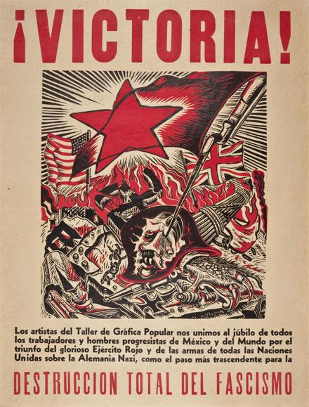 Á. Bracho, ¡Victoria! Los artistas del Taller de Gráfica Popular nos unimos…, 1945, litografía